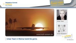 Reisebüro Conrad in Weimar besingt sein Geschäft