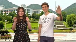 Gewinnspiel und Appetitanreger vor der Mensa in Hangzhou - Konfuzius TV