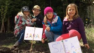 Kitakinder und Schulkinder legen Kartoffelbeet an