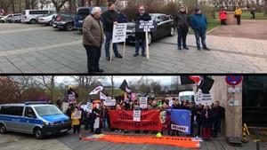 Die Reaktionen auf die Wahl Ramelows vor dem Thüringer Landtag